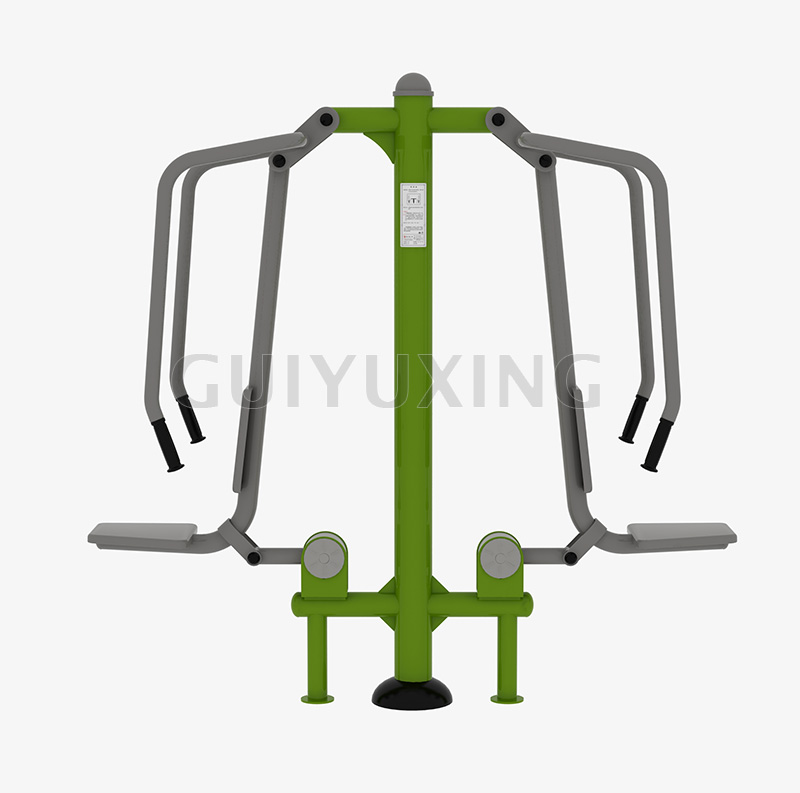 The chest press machine is made specifically for the outdoors to encourage exercise while getting fresh air. This particular fitness equipment primarily targets the pectoral muscles and various chest muscles. Working these muscles can help you with everyday lifting and pushing.